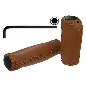 08184 Echt-Leder Griff, 135 + 135 mm, honig, anatomisch, VELO Ergonomic G2-Lock (Schraub-)