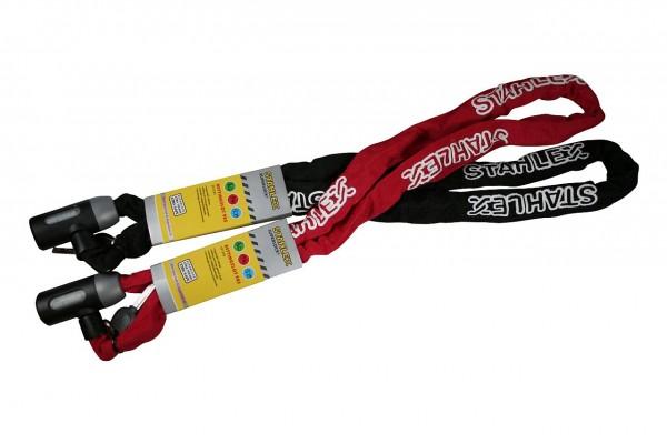 25625 Kettenschloss, 5 x 1200 mm, 2 Schlüssel, schwarz/ rot sortiert, Textilüberzug