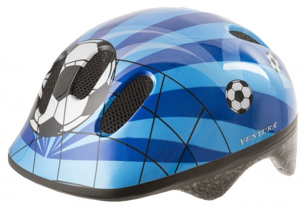 33809 Fahrradhelm, S/M = 52-57 cm Kinder, Design Soccer/ Fußball, blau