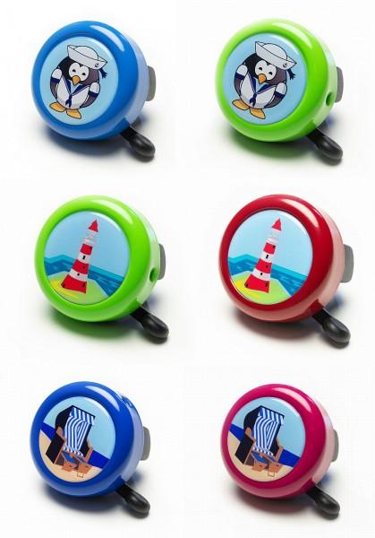07160 Fahrradglocke, gedomt, Leuchtturm, Strandkorb und Seemann, farbig sortiert