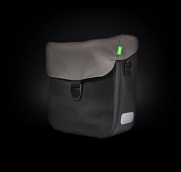 13619 Seitentasche Tommy, Deckeltasche, Wasserfest, 15 Liter, schwarz-grau, ebike ready