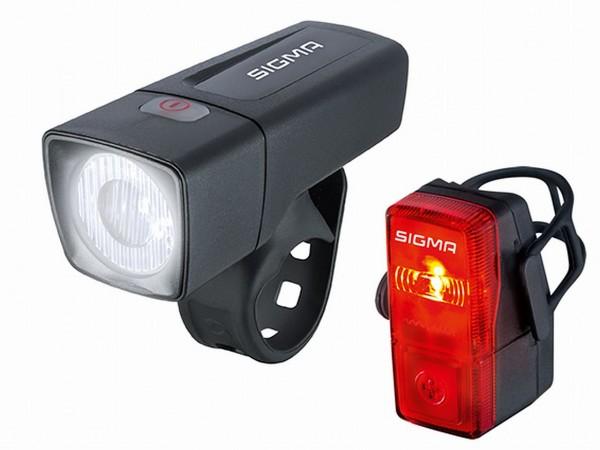01400 Batteriebeleuchtungs-Set Aura 25, 25 Lux, Frontleuchte + Rückleuchte, Sigma