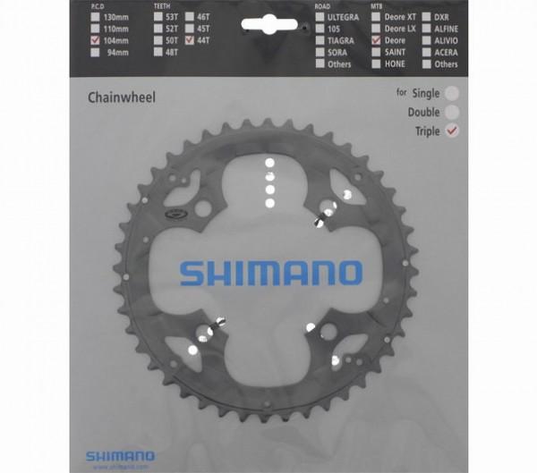 61805 Shimano Kettenblatt, ALU, (FCM590), 4-arm, Lochkreis Ø 104 mm, 44 Zähne, grau
