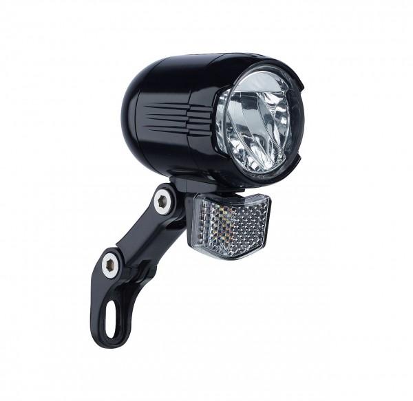 01259 LED Scheinwerfer, Shiny 120 für E-Bike, 120 Lux, 6-48 Volt, Halter & Reflektor