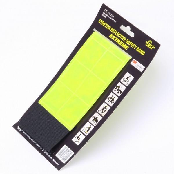 01710 Reflex-Binde, vollreflektierend, 9 x 30 cm, + 40 mm Stretcheinsatz, gelb, Fasi