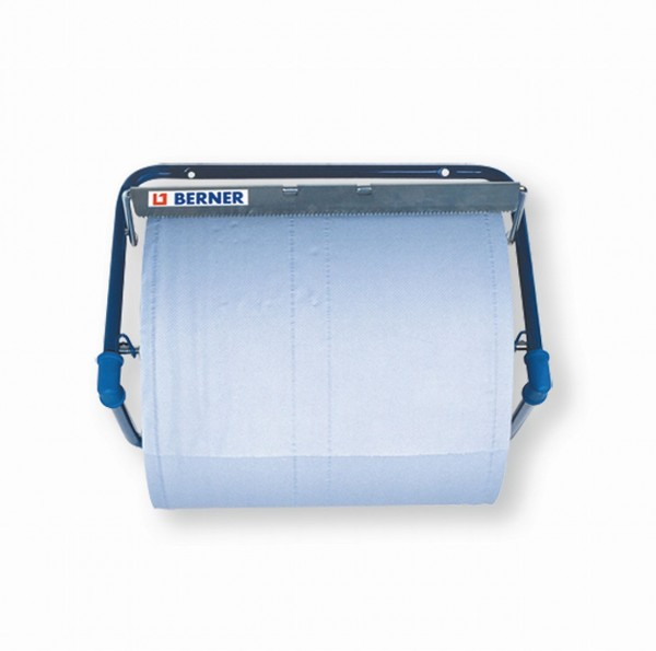 162400 Wandhalter für Putzrollen, bis 40 cm Rollen, mit Abreißkante, Metall, blau
