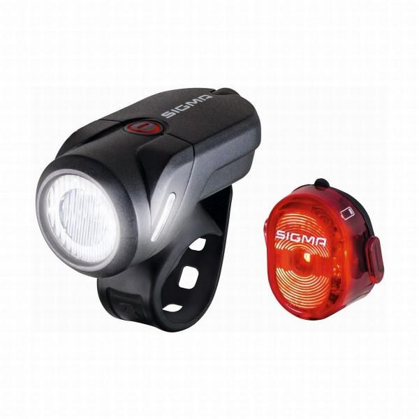 01402 USB-Beleuchtungs-Set Aura 35, 35 Lux, Frontleuchte Aura + Rückleuchte Nugget II