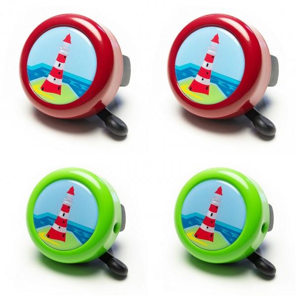 07152 Fahrradglocke/ Insel-Glocke, gedomt, Motiv Leuchtturm, kiwigrün und chilli-rot