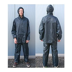 33206 Regenanzug, Größe L, winziges Packmaß, elastische Raffungen, Aufbewahrungsbeutel, blau