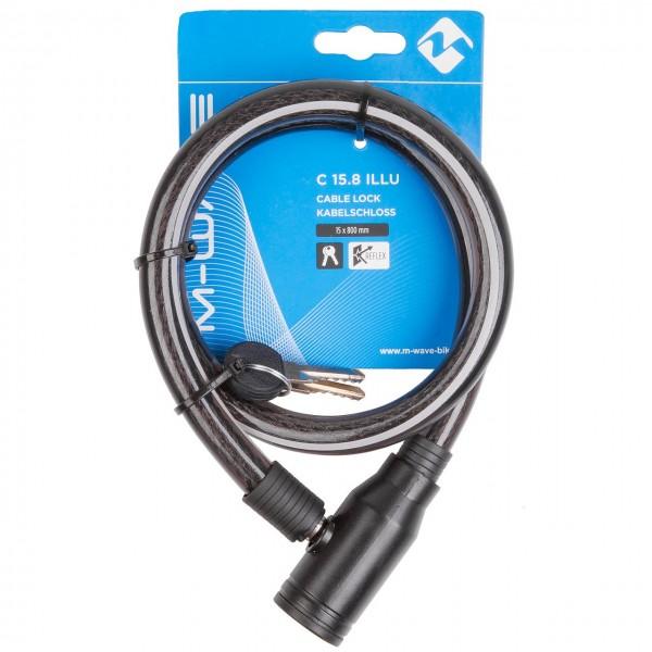 25607 Kabelschloss, 15 x 800 mm, 2 Schlüssel, mit Reflexstreifen, M-WAVE C 15.8 Illu