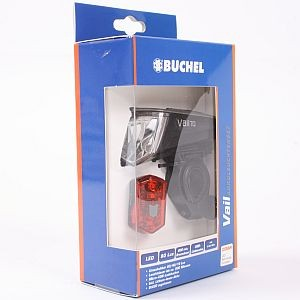 01426 Beleuchtungs-Set Vail, > 80 Lux, Frontleuchte VAIL + Rückleuchte, USB, Lithium-Akku