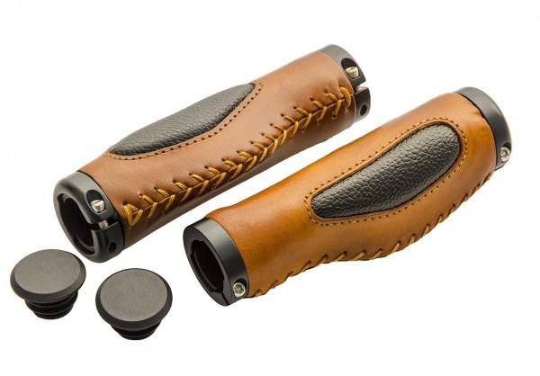 08154 Echt-Leder-Griff, anatomisch, paarweise 130 +130 mm, Schraubsicherung, braun-schwarz