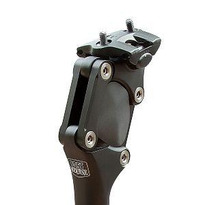 24815 Parallelogramm-Sattelstütze, gefederte-, ALU, einstellbar, Länge 350 mm, Ø 30.9 mm, schwarz