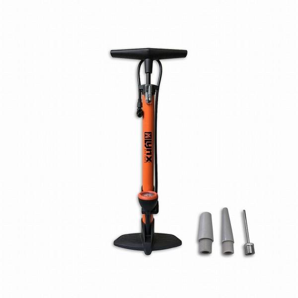 21322 Standpumpe Lynx in orange, Manometer, bis 6 bar, Floor Pump, SV-AV-DV
