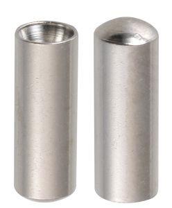 03716 Seilendhülsen, 1.0 - 1.5 mm-Ø, Länge 10 mm, ZAMAK-Legierung, für Innenzüge, silber