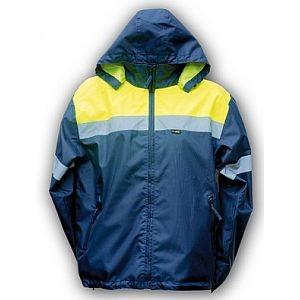 33230 Regenjacke, 4-act, große Reflexstreifen, mit Kapuze, Innentasche, blau-gelb, Größe L