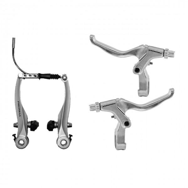 03132 V-Brake Set, Alu, silber, VR + HR, + Bremshebel links & rechts