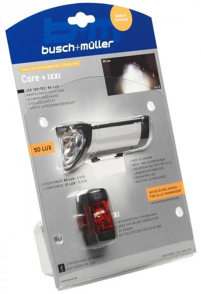 01421 Beleuchtungs-Set Core + Ixxi, 50 Lux, Scheinwerfer + Rücklicht, Lithium-Akku, USB