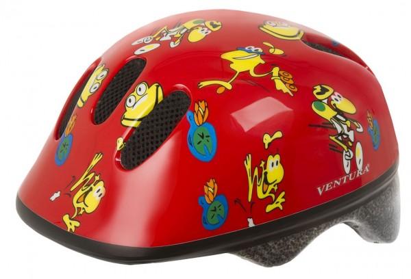 33815 Fahrradhelm, XS/S = 46-52 cm, Kinder, Design Frösche, rot