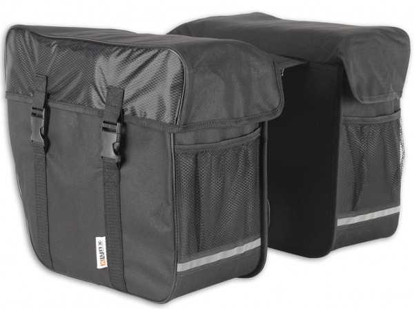13227 Doppelpacktasche, wasserabweisend, 35 Liter, Reflexstreifen, schwarz