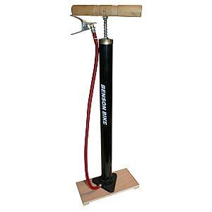 21309 Fußpumpe Standpumpe, Stahl, Holzbrett, für DV/ SV-Ventile, mit Holzgriff
