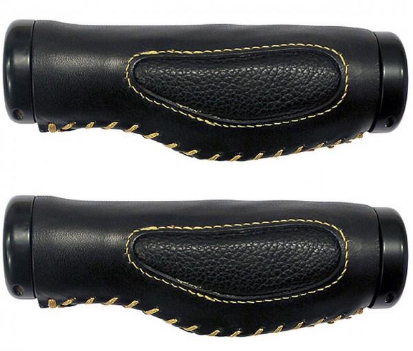08157 Echt-Leder-Griff, anatomisch, paarweise 135+97 mm, Schraubsicherung, schwarz