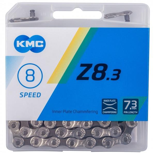 "10125 Fahrradkette KMC Z8.3 (Z51s), 1/2"" x 3/32"", 114 Gl., 18-24 Gg., silber-grau, EK"