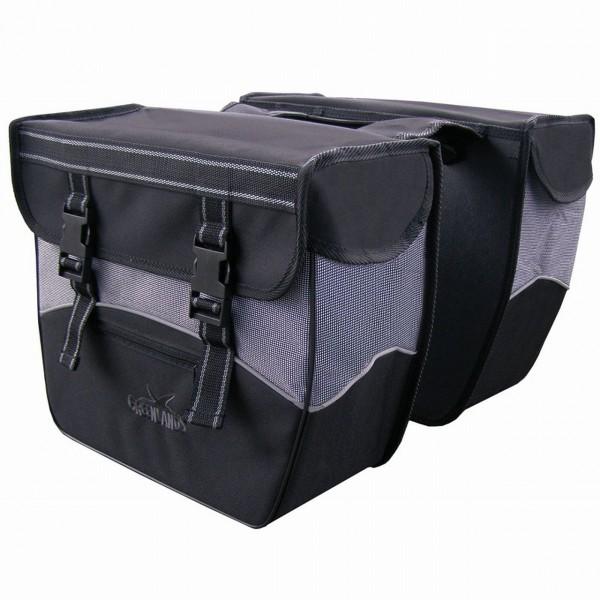 13594 Doppelpacktasche, 34 Liter, wasserabweisend, Reflexstreifen, schwarz-grau