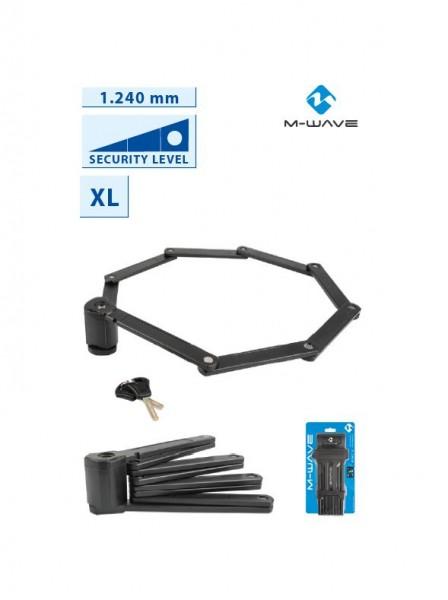 25396 Faltschloss, F1240/8, XL, Kunststoff-Ummantelung, 1240 mm, 2 Schlüssel, schwarz