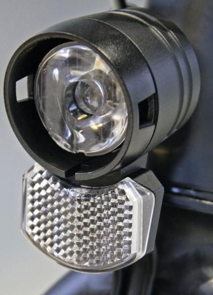 01202 Scheinwerfer Ecoline 15, 15 Lux, für Seitenläufer/ Nabendynamo, schwarz, LED, Axa