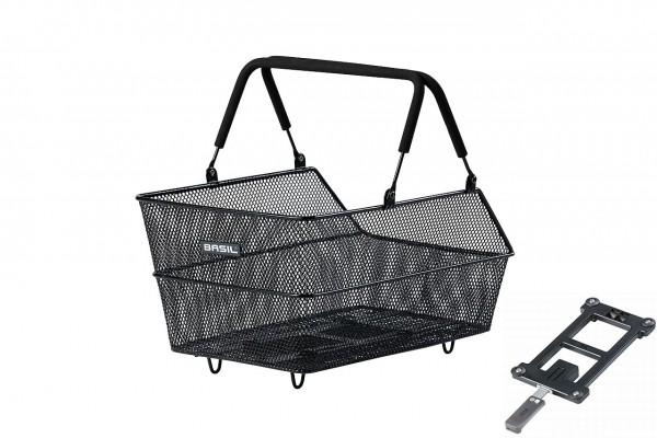 11236 Fahrradkorb Cento MIK, HR-Korb, 46 x 33 x 26 cm, Stahl, + MIK Adapterplatte, schwarz