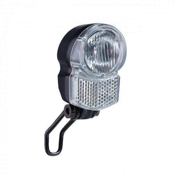 01222 Led Scheinwerfer UniLedPro, für E-Bike 6 Volt, Halter, Reflektor, 25 Lux, schwarz