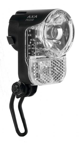 01178 Scheinwerfer PICO 30, >30 LUX, für Seitendynamo, mit Halter, LED, Axa