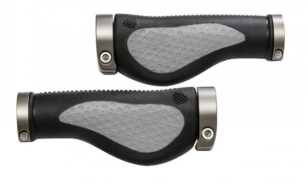 08094 Fahrradgriff, Ergo Soft, Lenkergriff, ALU-Schraubklemmung, 138/ 138 mm, schwarz-grau