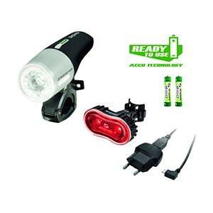 51440 Speedster + Stereo Batterielampen-Set, SIGMA, + Akkus, USB-Ladegerät, StVZo zugelassen