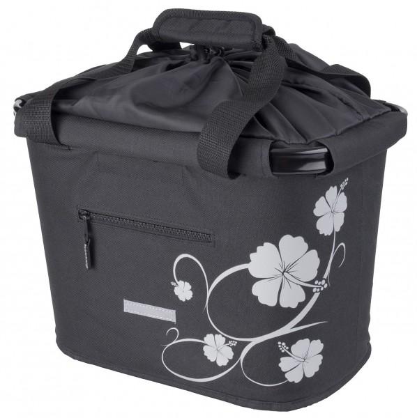 13414 Lenkerkorb-Tasche, abnehmbar, Quick-Release-Halter, schwarz mit Hibiskusblüte