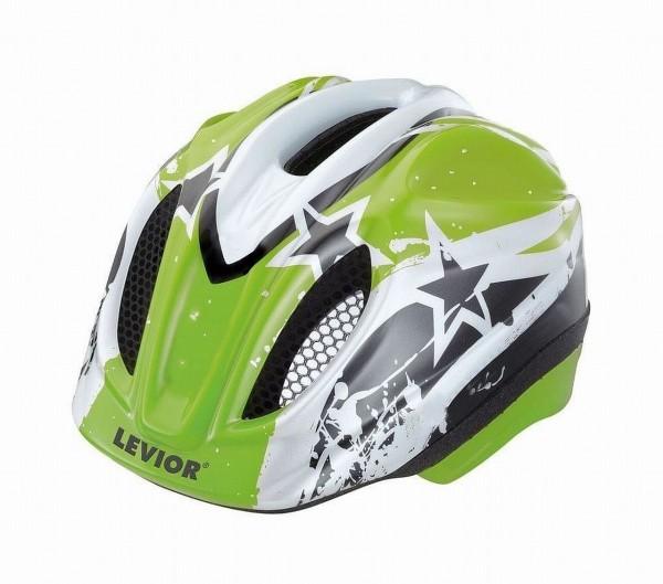 33922 Kinder Fahrradhelm Green Stars, Primo, Größe M (52-58 cm), Reflektor, Quicksafe, MaxShell,grün