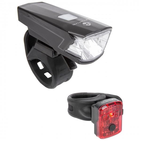 51429 LED Akkulampen-Set, M-WAVE Atlas K 15, Frontlicht + Rücklicht, Lithium-Akku, USB, 30/15 Lux