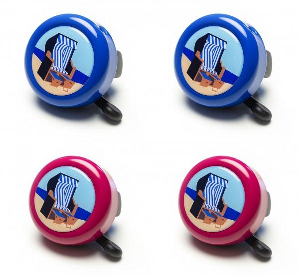07154 Fahrradglocke/ Insel-Glocke, gedomt, Motiv Strandkorb, blau und berry