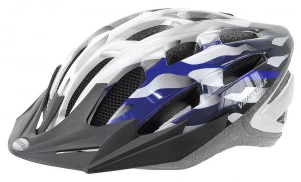 33858 Fahrradhelm, L = 58-62 cm Erwachsene, Semi-In-Mold, silber-weiß-blau,