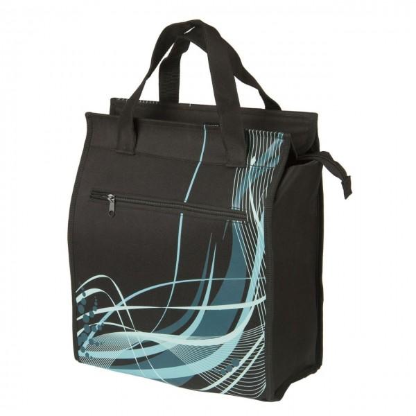 13572 Shopper Seitentasche, integrierter justierbarer Gepäckträgerhalter, Modell BLACK FANCY