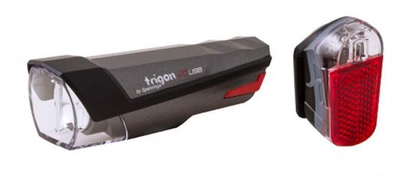 01420 Beleuchtungs-Set Trygon + Pyro, >25 Lux, LED, incl. Batterien, STVZO, USB, Spanninga