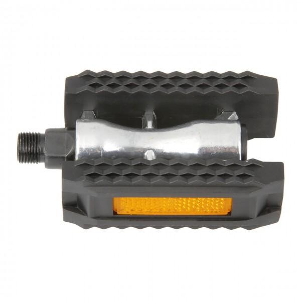 20145 Pedale, Blockpedale, Aluminium, Non-Slip, gedichtete Achse, silber-schwarz