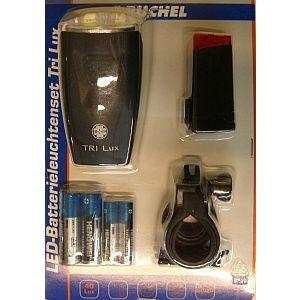 01427 Beleuchtungs-Set Tri Lux, > 40 Lux, Frontleuchte + Rücklicht, incl. Batterien & Halter