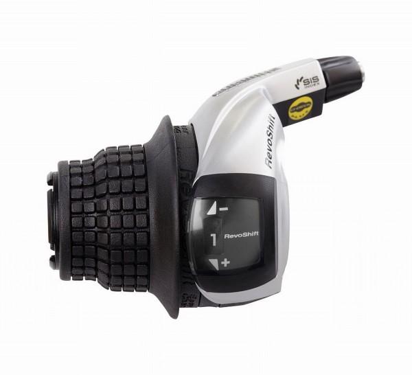 61340 Shimano Altus Schalthebel (für 3x8-fach), SL-RS45, links - 3-fach, schwarz-silber