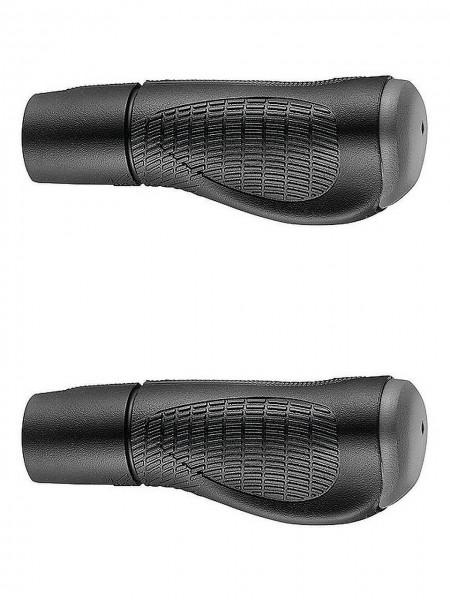 08080 Fahrrad-Griff, GP03, anatomisch, paarweise 130+130mm, mit Kürzungs-Rille (auf 95 mm) schwarz