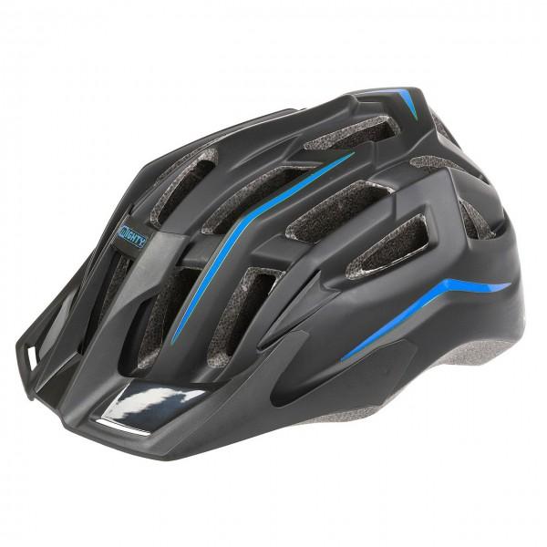 33889 In-Mould Fahrradhelm Black Hawk, verstellbares Visier, schwarz-blau, 52-58 cm, Größe M