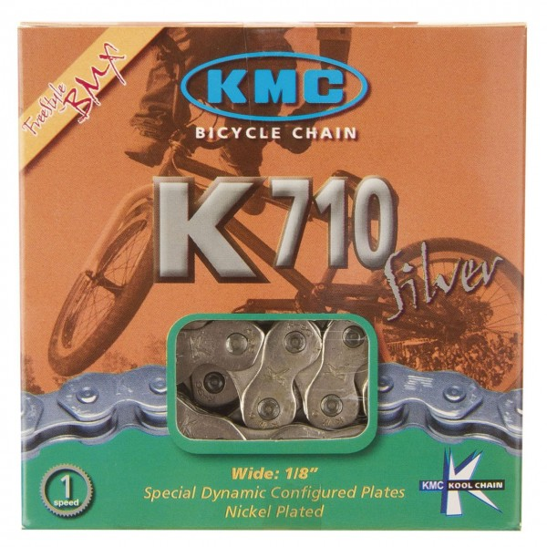 10109 Kette 1/2 x 1/8, 100 Glieder, Single-Speed, BMX, Trial, verchromt, K710 Cool Chain, KMC