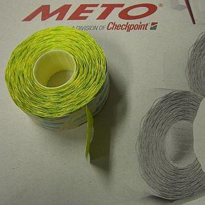 Meto Etiketten 32x19, Größe L, Gum 4, 1000 Einzeletiketten auf Rolle, leucht-gelb für Preisauszeich.