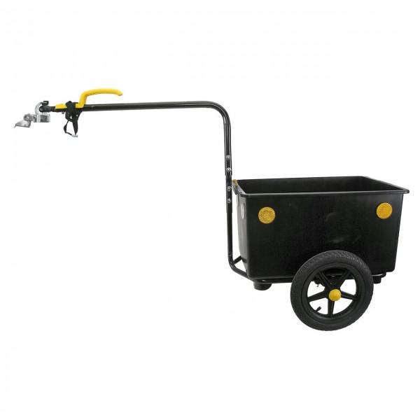 00155 Fahrradanhänger, + Kupplung, max 50 KG/ 60 Liter, Kunststoffkasten, schwarz